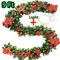 """Coxeer Wedding Garland, 9 Ft LED Wedding Graland Flower Artificial Pine Garland with """"Merry Christmas""""Font 100 Warm White Battery Operated LED Lights for Christmas Wedding Decor"""