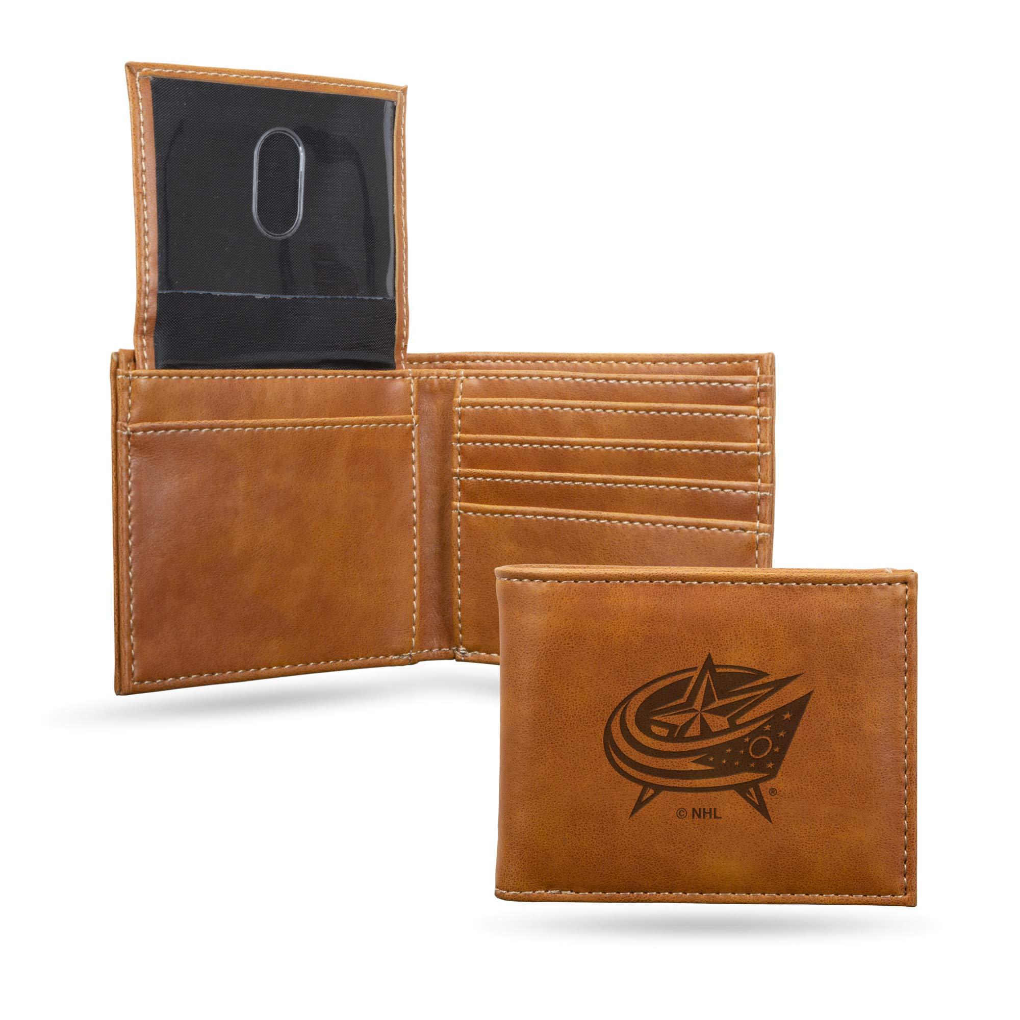 Rico Industries NHL Laser Engraved Billfold Wallet, Brown