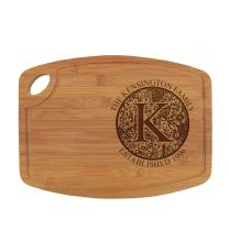 """BambooMN Personalized Engraved Bamboo Cutting Board - Custom Name Gift Kitchen Cutting Board - Floral Family Circle - 11.75"""" x 8.6"""" x .5"""" - 1 Piece - Customized Kitchen Present for Couples, Weddings"""