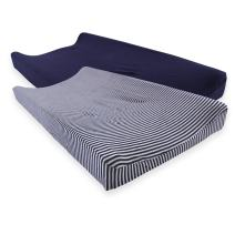 Touched by Nature Unisex Baby Organic Cotton Changing Pad Cover, Navy Heather Gray, One Size