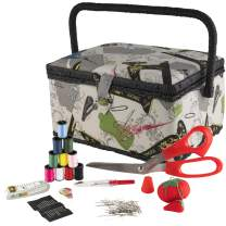SINGER 07281 Vintage Sewing Basket with Sewing Kit Accessories