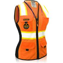 KwikSafety (Charlotte, NC) FIRST LADY Safety Vest for Women | Class 2 ANSI OSHA PPE | High Visibility Heavy Duty Mesh Pockets Zipper | Hi-Vis Construction Work Hi-Vis Surveyor Female | Orange X-Small