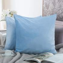 NTBAY Zippered Velvet Square Throw Pillow Covers, 2 Pack Soft and Luxury Decorative Cushion Cases, 18 x 18 Inches, Sky Blue