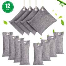 12 Pack Air Purifying Bags, Natural Bamboo Charcoal Bags, 4x200g, 4x100g, 4x75g, Activated Charcoal Moisture Absorber Air Freshener for Car Home Closet Fridge Pet Shoes Cabinet