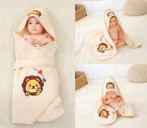 Alcea Rosea Unisex-Baby Newborn Lion Print Hooded Baby Blanket Organic Cotton Wearable Blanket Sleep Bag Blanket Sleeper for Baby ((Lion)
