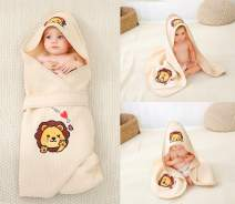 Alcea Rosea Unisex-Baby Newborn Lion Print Hooded Baby Blanket Organic Cotton Wearable Blanket Sleep Bag Blanket Sleeper for Baby ((Lion)