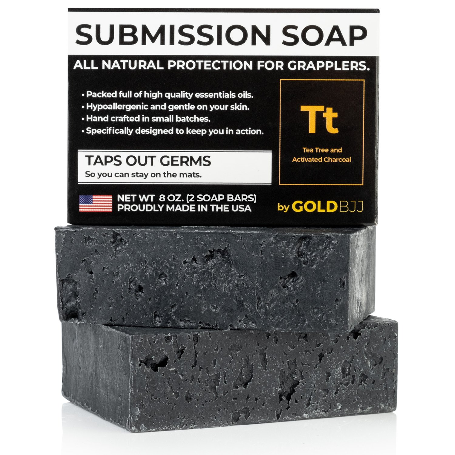 Premium Tea Tree Oil Soap - With Activated Charcoal! 100% All Natural USA Made Bars for BJJ, Jiu Jitsu, Wrestling (2-Pack of 4 Ounce Soap Bars)