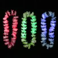 Fun Central 12 Pieces - LED Light Up Silk Flower Leis Necklace in Bulk for Luau Party Supplies and Beach Party Decorations - Assorted Colors