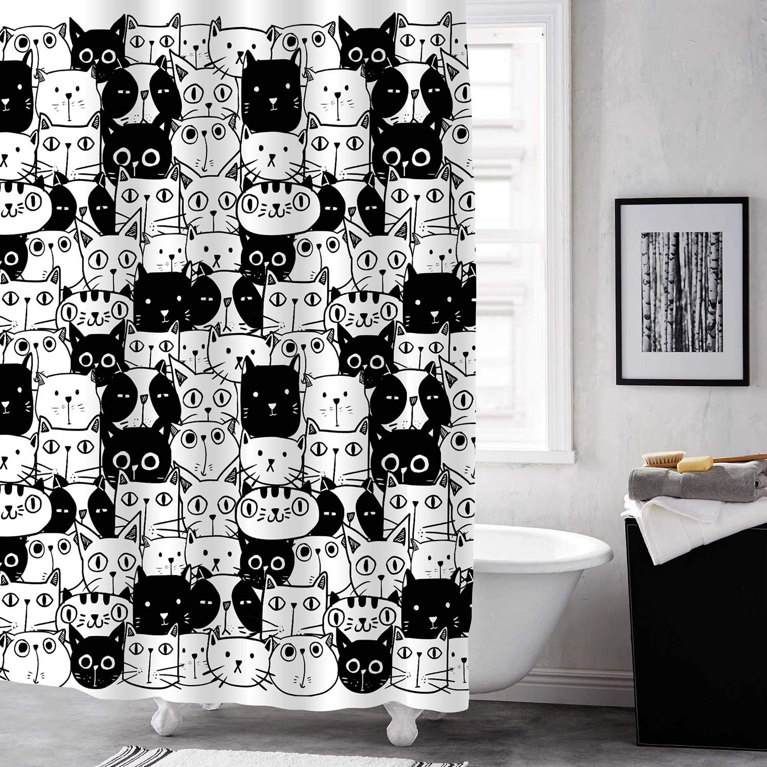 Mitovilla Cartoon Cat Shower Curtain Set With Hooks Cute Kitten Bathroom Art Decor For Baby Kids Animal And Pet Lover Gifts Black And White 72 W X 72 L For Bathroom Shower