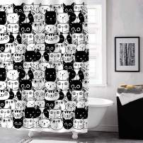 """MitoVilla Cartoon Cat Shower Curtain Set with Hooks, Cute Kitten Bathroom Art Decor for Baby, Kids, Animal and Pet Lover Gifts, Black and White, 72"""" W x 72"""" L for Bathroom Shower Tub"""