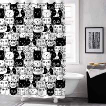 """MitoVilla Cartoon Cat Shower Curtain Set with Hooks, Cute Kitten Bathroom Art Decor for Baby, Kids, Animal and Pet Lover Gifts, Black and White, 72"""" W x 78"""" L for Bathroom Shower Tub"""
