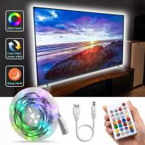 Bason LED TV Backlight,RGBW LED Strip Lights with 29 Keys Remote,65536 DIY Colors and Mini Hidden Controller,IP65 Protective Glue TV Lights,Bringing The Better Experience for Gaming and Movie(55in)