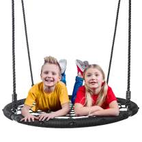 """SUPER DEAL Largest 48"""" Web Tree Swing Set - Extra Large Platform - 360 Rotate°- 71inch Adjustable Hanging Ropes - Attaches to Trees or Existing Swing Sets for Multiple Kids or Adult"""