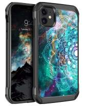 "BENTOBEN iPhone 11 Case 2019, Dual Layer Slim Hybrid Soft Rubber Bumper Hard PC Glow in The Dark Cover Shockproof Protective Phone Cases for iPhone 11 6.1"" 2019 Mandala in Galaxy"