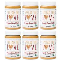 Spread The Love NAKED Organic Peanut Butter, 16 Ounce (Organic, All Natural, Vegan, Gluten-free, Creamy, Dry-Roasted, No added salt, No added sugar, No palm oil) (6-Pack)