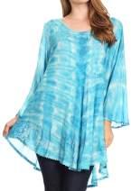 Sakkas Gilda Women's Summer Casual Short/Long Sleeve Swing Dress Tunic Cover-up