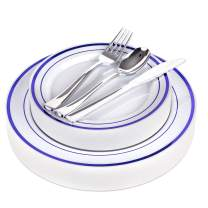 Fancy Disposable Plates with Cutlery - 125 Piece Blue Plastic Party Plates and Silverware for Weddings, Party, Baby Shower, Birthday, Holiday - Service for 25 Guests Disposable Dinnerware (Blue Rim)