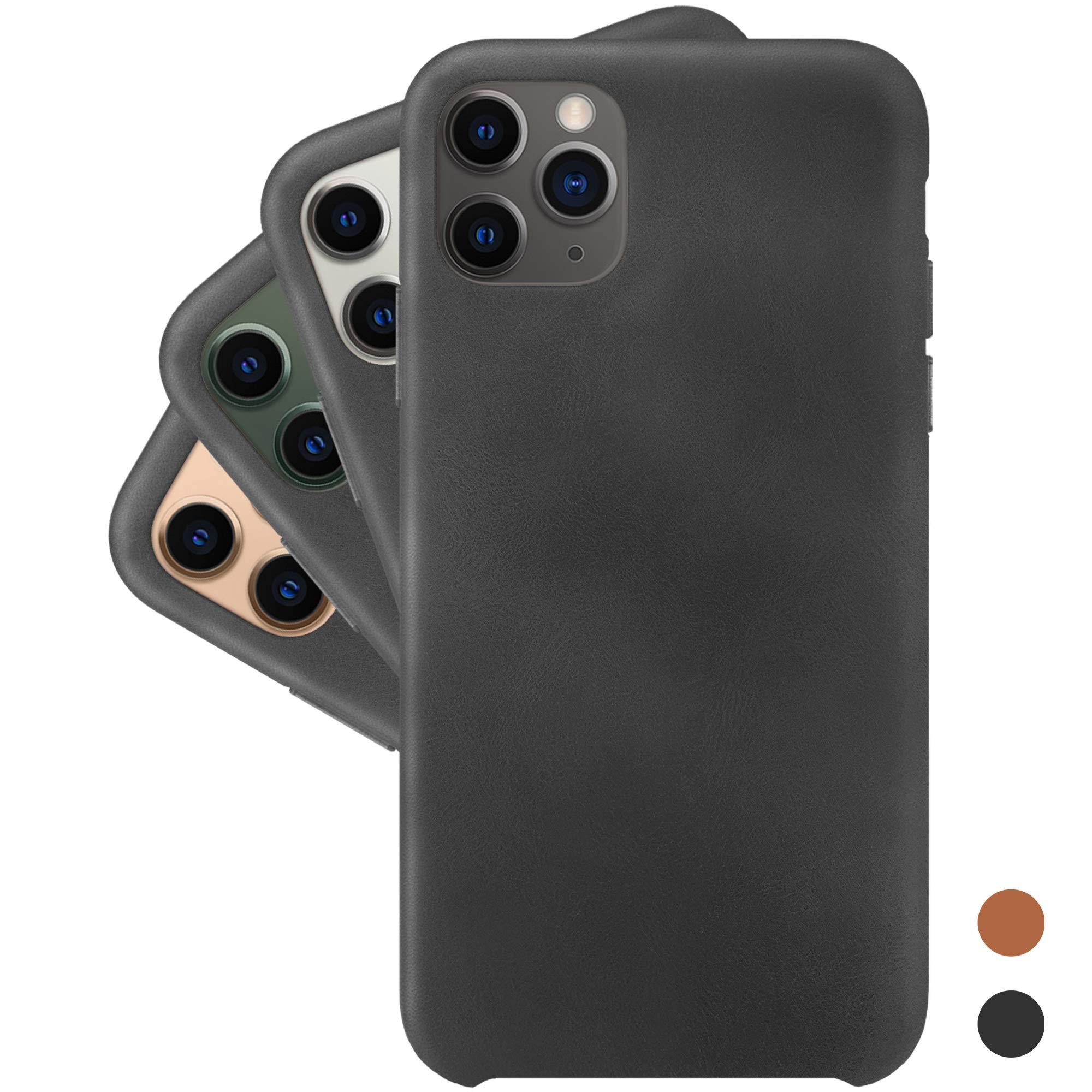 LONLI Basic   Eco-Friendly Vegan Leather Case for iPhone 11 Pro - Black