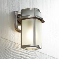 """Delevan Modern Outdoor Wall Light Fixture Brushed Nickel 11 1/4"""" Frosted Seedy Glass Damp Rated for Exterior House Porch Patio Protected Walkway - Possini Euro Design"""