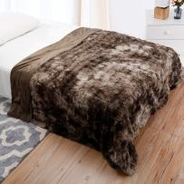 LANGRIA Luxury Super Soft Faux Fur Fleece Throw Blanket Cozy Warm Breathable Lightweight and Machine Washable Dyed Fabric for Winter – Decorative Furry Throw for Couch Bed (60x80, Twin Size Brown)