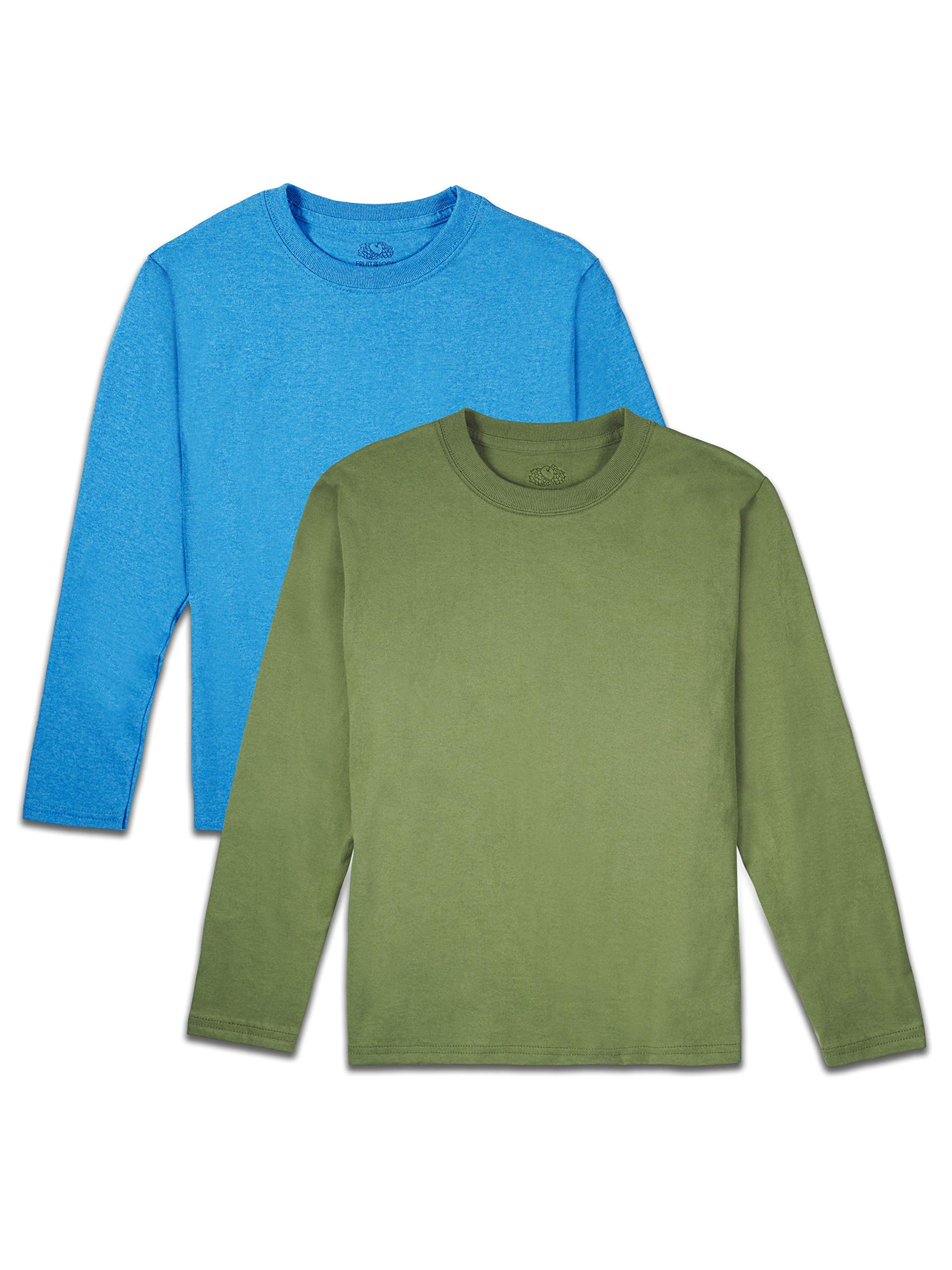 Fruit of the Loom Boys' Solid Multi-Color Soft Long Sleeve T-Shirts, 2 Pack