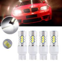 cciyu 4 Pack Xenon White 6000K 60W 6000K 7443 7440 Cree LED 15 5730 SMD Reverse Backup Light