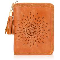 APHISON RFID Credit Card Holder Travel Leather Wallet for Women 20 Card Slots sun flower style 1891