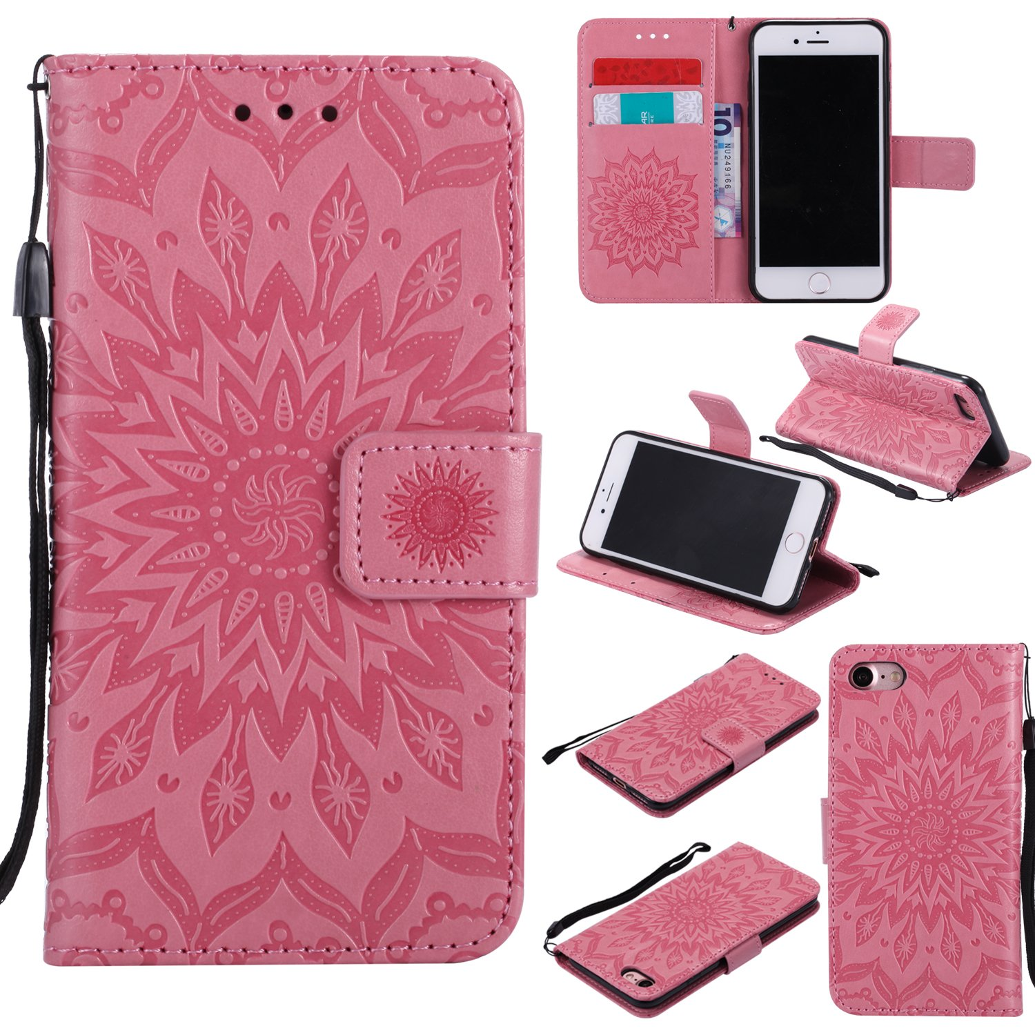 Cmeka 3D Sunflower Wallet Case for iPhone 7 / iPhone 8 with Credit Card Slots Holder Magnetic Closure Slim Flip Leather Kickstand Function Protective Case Pink