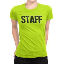 NYC FACTORY Ladies Neon Yellow Safety Green Staff T-Shirt Front & Back Print Event Shirt Womens Tee