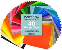 """iVinyl - 40 Adhesive Vinyl Sheets 12"""" x 12"""" Permanent Self Adhesive Backed Vinyl Sheets - 40 Glossy & Matt Assorted Colors Sheets for Cricut, Craft Cutters, Silhouette Cameo & Crafting Machines"""