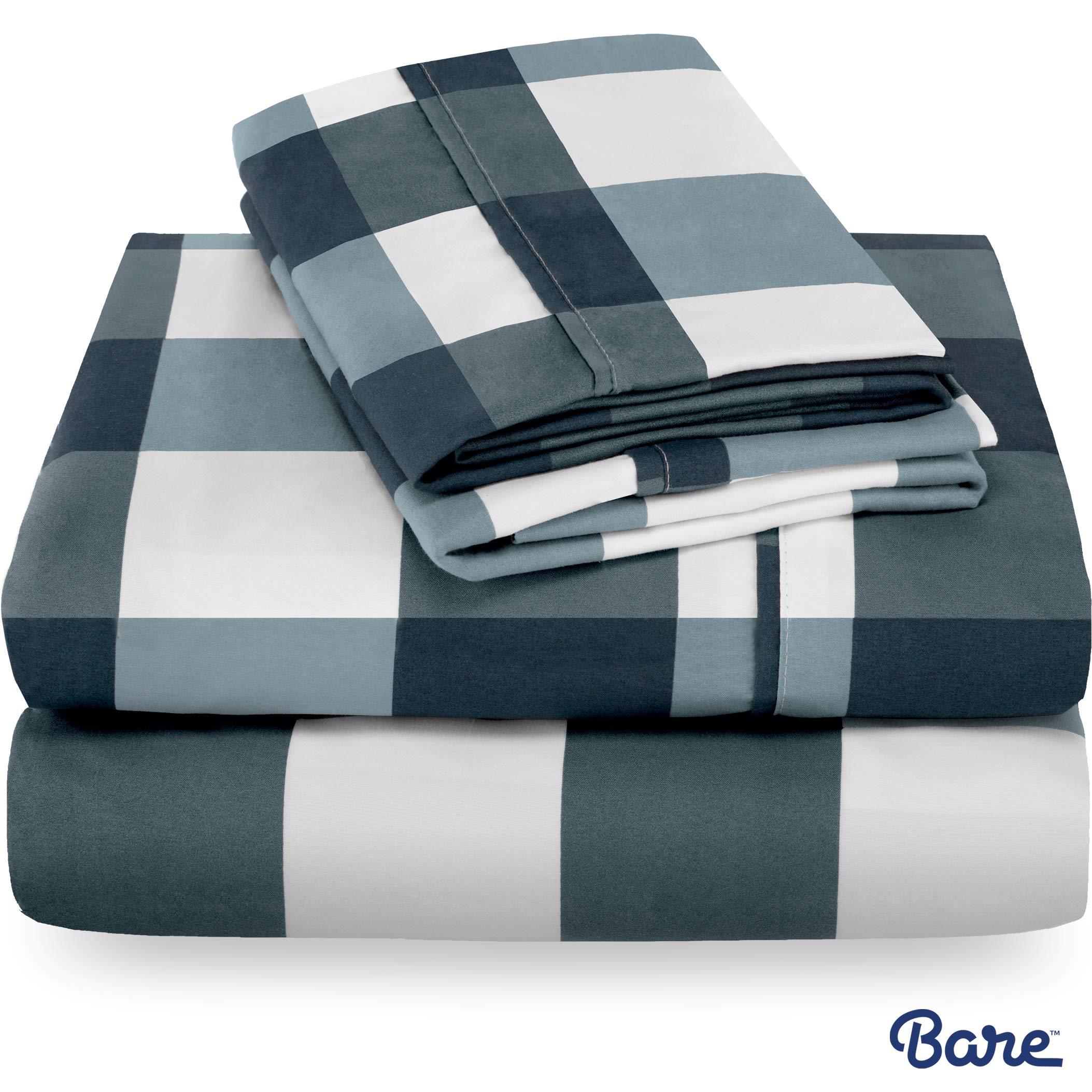 Bare Home Split King Sheet Set - 1800 Ultra-Soft Microfiber Bed Sheets - Double Brushed Breathable Bedding - Hypoallergenic – Wrinkle Resistant - Deep Pocket (Split King, Gingham Blue)