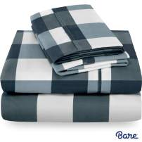 Bare Home Twin XL Sheet Set - College Dorm Size - Premium 1800 Ultra-Soft Microfiber Sheets Twin Extra Long - Double Brushed - Hypoallergenic - Wrinkle Resistant (Twin XL, Gingham Blue)