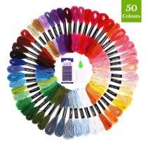 SOLEDI Embroidery Floss Thread Craft Floss Set for Friendship Bracelets 50 Skeins Rainbow Colors with 23 pcs Embroidery Tools