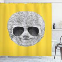 """Ambesonne Sloth Shower Curtain, Hipster Jungle Animal with Sunglasses Smiling Funny Expression Cool Character Print, Cloth Fabric Bathroom Decor Set with Hooks, 75"""" Long, Yelow Grey"""