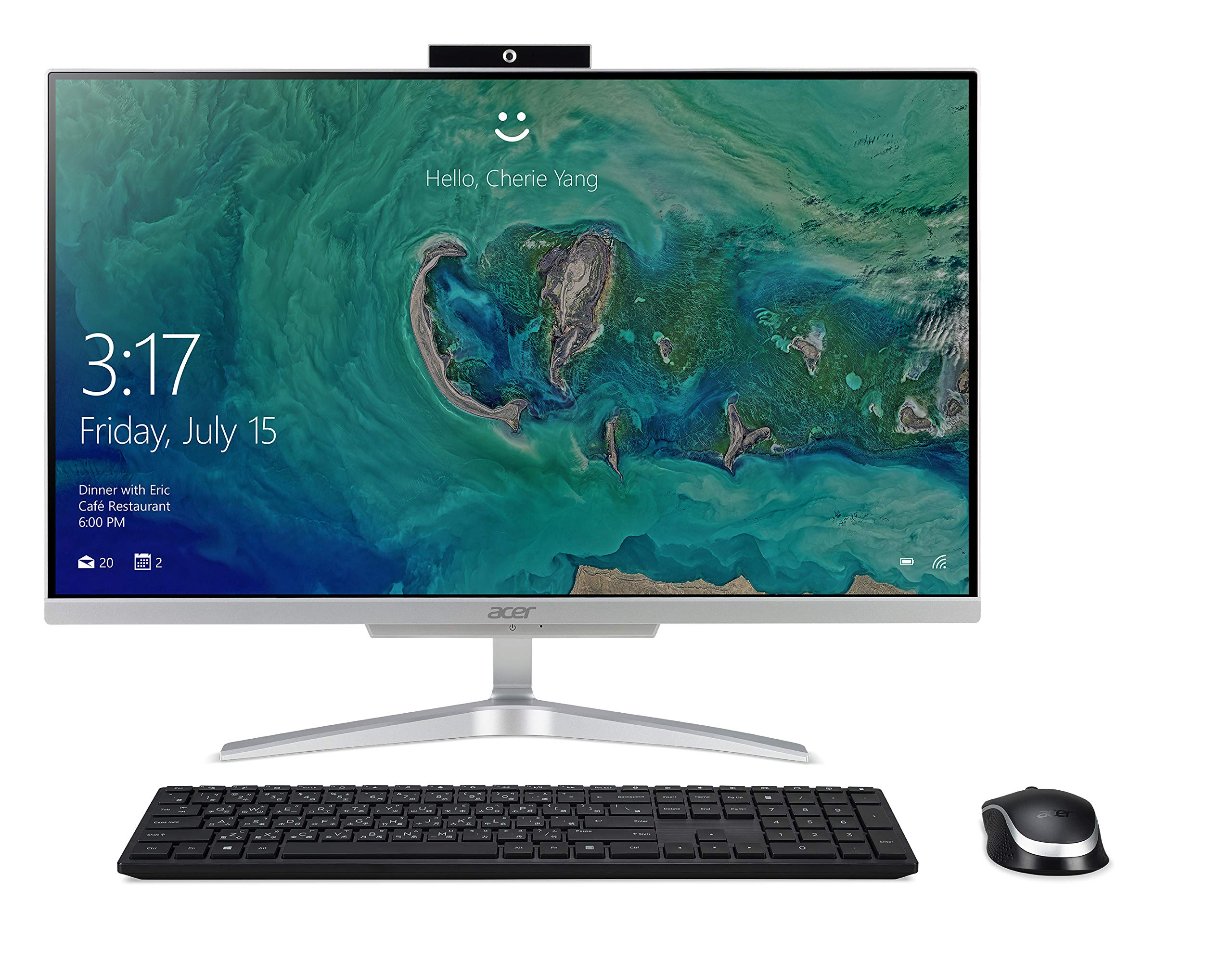 Acer Aspire C24-865-UA91 AIO Desktop, 23.8 inches Full HD, 8th Gen Intel Core i5-8250U, 8GB DDR4, 1TB HDD, 802.11AC Wifi, Wireless Keyboard and Mouse, Windows 10 Home, Silver