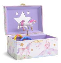 Jewelkeeper Girl's Musical Jewelry Storage Box with Spinning Unicorn, Glitter Rainbow and Stars Design, The Unicorn Tune