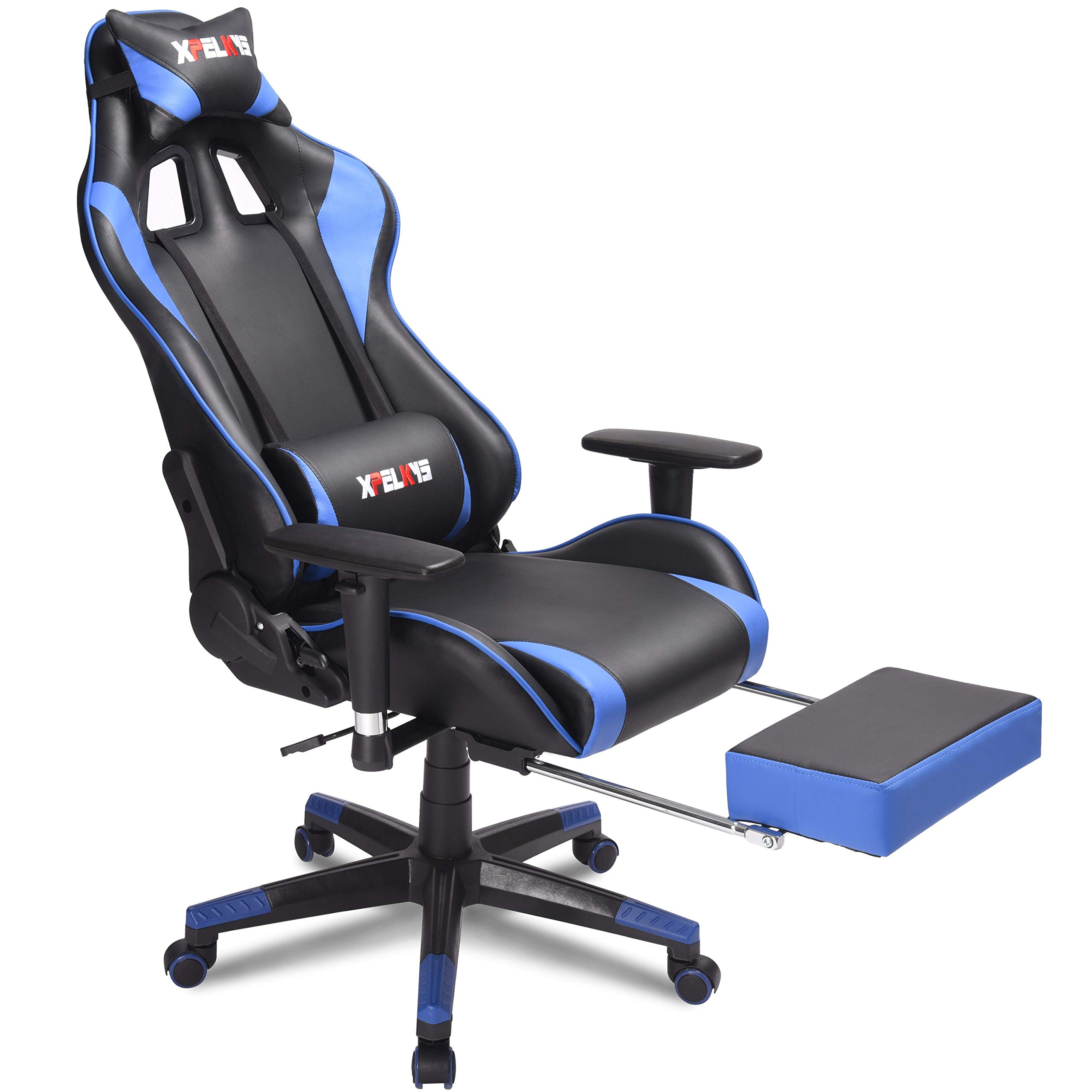 Xpelkys Home Office Desk Chair Computer Gaming Chair Video Gaming Chair Swivel Leather Ergonomic Chair With Padded Footrest And Cushion Height Adjustable Adjustable Armrests Blue