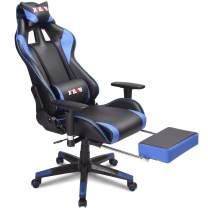 XPELKYS Home Office Desk Chair Computer Gaming Chair Video Gaming Chair, Swivel Leather Ergonomic Chair with Padded Footrest and Cushion, Height Adjustable, Adjustable armrests (Blue)