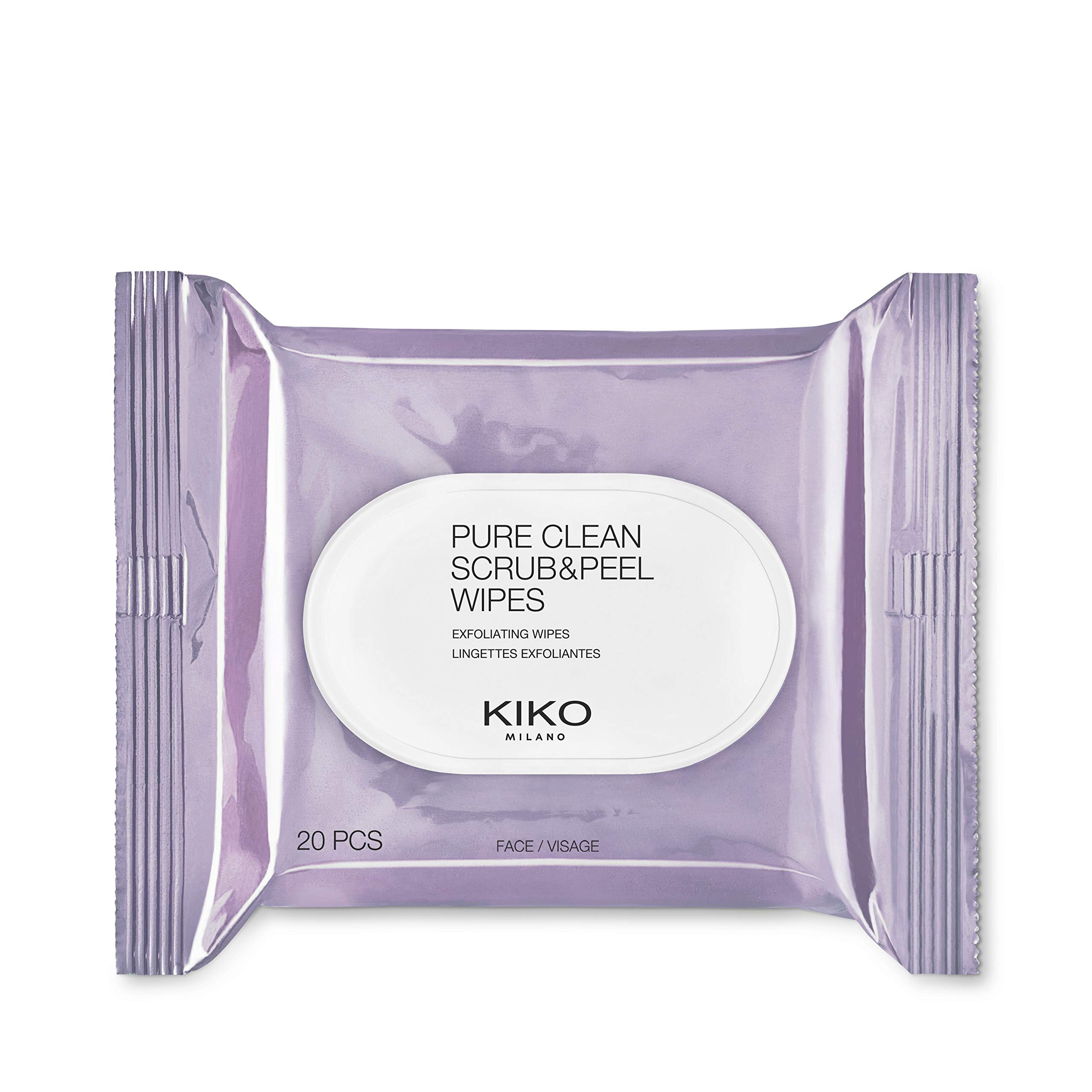KIKO MILANO - Makeup Remover Pure Clean Scrub & Peel 2-sided Makeup Wipes | 20x Wet Face Wipes that both Exfoliate and Refresh the Face, 2-in-1 | Cruelty Free & Hypoallergenic | Made in Italy