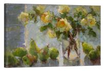 LightFairy Glow in The Dark Canvas Painting - Stretched and Framed Giclee Wall Art Print - Like Oil Painting Yellow Roses - Master Bedroom Living Room Decor - 6 Hours Glow - 36 x 24 inch