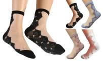 Qiabao Women's Ultrathin Transparent Short Ankle Socks Pack of 4