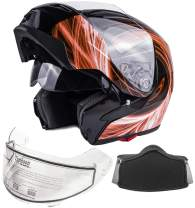 Typhoon G339 Adult Dual Visor Modular Snowmobile Helmet DOT Full Face Flip-up (Orange, Medium)
