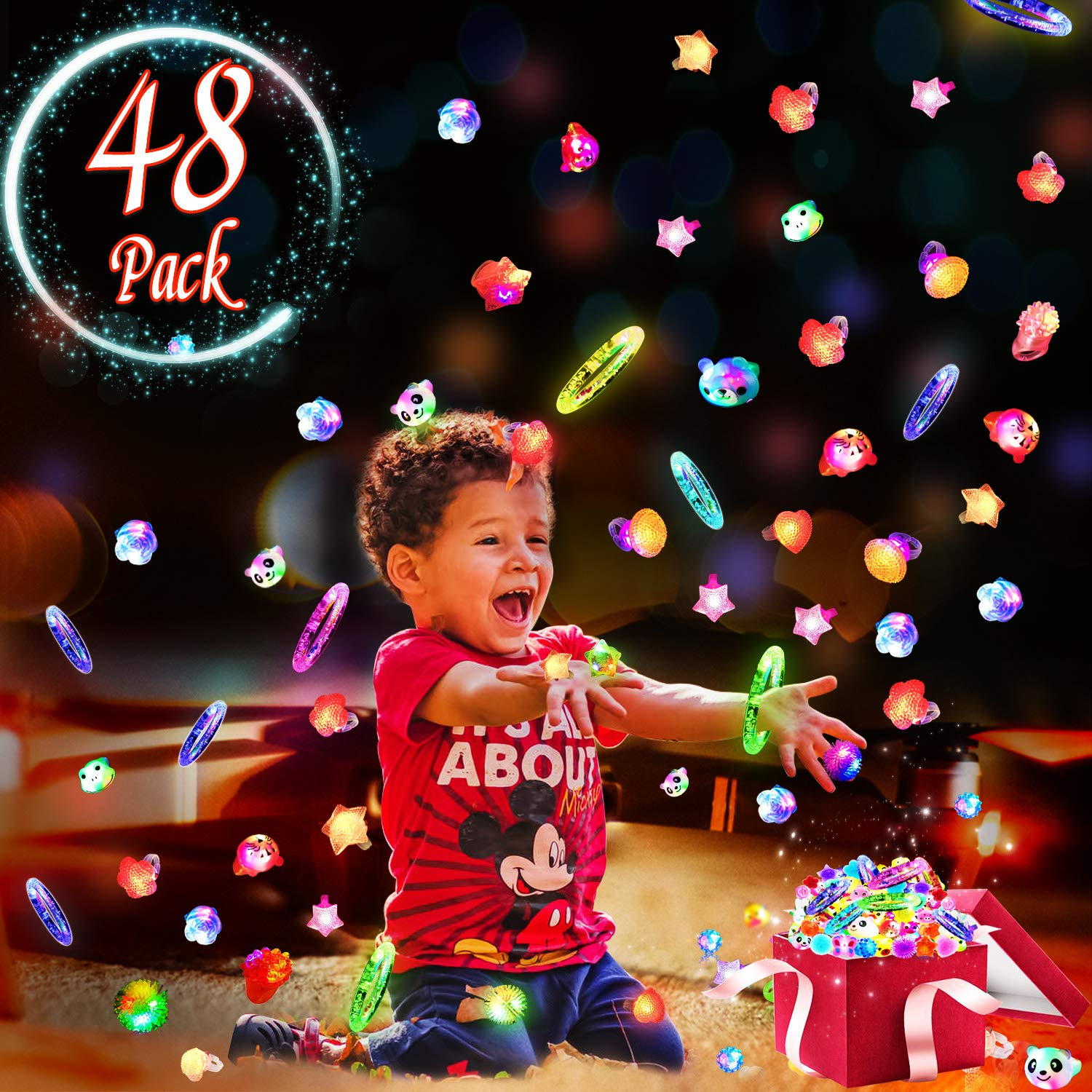 AY 48 Pack LED Light Up Party Favors for Kids and Adults for St. Patrick's Day Easter Birthday Party Gift Include 20 Pack Jelly Rings 10 Pack Diamond Rings 6 Pack Animal Rings and 12 Pack Bracelets