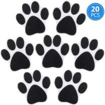 20 Pieces Non-slip Bathtub Stickers Adhesive Paw Print Bath Treads Non Slip Traction to Tubs Bathtub Stickers Adhesive Decals Anti-slip Appliques for Bath Tub Showers, Pools, Boats, Stairs (Black)