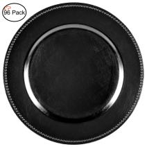 Tiger Chef 13-inch Black Round Beaded Charger Plates, Set of 2,4,6, 12 or 24 Dinner Chargers - Set of 96