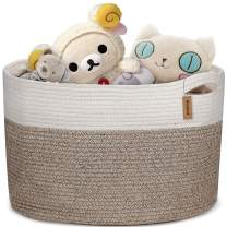 COSYLAND XXLarge Woven Storage Basket 19.7X 19.7X 13 inches Cotton Rope Organizer Baby Laundry Baskets for Blanket Toys Towels Nursery Hamper Bin with Handle