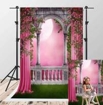 Kate 5x7ft Spring Garden Photography Backdrops Green Grassland Photographic Backdrops Pink Curtain Balcony Flowers Photo Booth Backdrop Children Wedding Photoshoot Studio Background