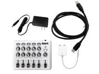 """Maker Hart LOOP MIXER - Portable Audio Mixer with 5 Channels, 5 x 1/8"""" Stereo and 1/4"""" Mono to Stereo DM2S Adapter (with Bus Cable)"""