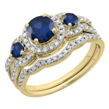 Round Gemstone & White Diamond Ladies 3 Stone Halo Bridal Engagement Ring With Matching Band Set, 14K Yellow Gold
