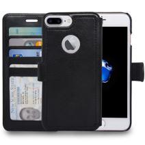 navor Slim & Light Premium Flip Wallet Case with RFID Protection Compatible for iPhone 7 Plus/ 8 Plus - 5.5 inch (Zevo S2 Series) - Black